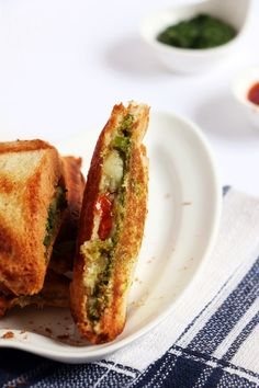Bombay toast sandwich recipe with step by step photos. learn how to make tasty and flavorful masala toast sandwich recipe with this easy recipe! Veg Sandwich, Toast Sandwich, Sandwich Recipes, Snack Recipes, Cooking Recipes, Recipes Dinner, Indian Snacks, Indian Food Recipes, Vegetarian Recipes