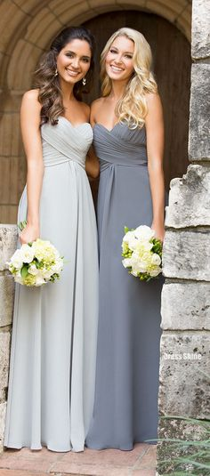 Bridesmaid Dress Bridesmaid Dresses. Love the look of different grays together