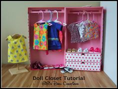 DIY Doll Clothes Cabinet. Made from large cardboard boxes, contact ...