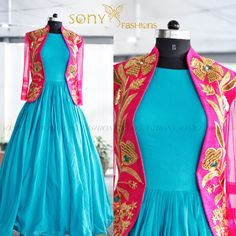 Beauty of bundles on threads that come together and create Pure Magic. Beautiful powder blue floor length gown and pink color over coat with hand embroidery gold thread work. For more details  Contact : 8008100885 Email : teamsonyfashions@gmail.com