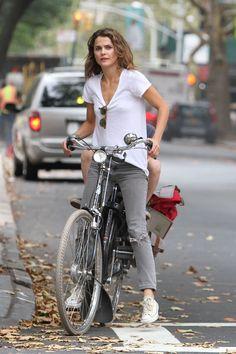 Keri Russell Street Style - Riding a Bike in Brooklyn, Sept. 2014