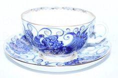 Russian Imperial Lomonosov Porcelain Tea cup, saucer Bird Queen Singing Garden