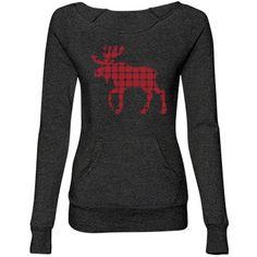 Plaid Moose Misses Alternative Apparel Maniac Eco-Fleece Wideneck Sweatshirt