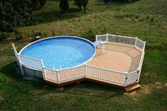 small above ground pools with decks round pool deck ideas