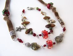 Charm Bracelet & Necklace Set with Red and Green Gemstones and Velvet Ribbon on Etsy, $59.00