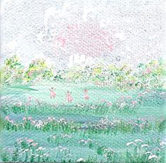 THREE Pretty Maids  Original Miniature Painting on Canvas  by Majo, $25.00