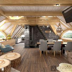 Pokój dzienny w domku w Bieszczadach - zdjęcie od K2studio