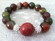 Snakeskin and Agate Bracelet by LindsayRaeDesigns on Etsy