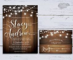This rustic wedding invitations set features multiple strands of draped twinkling bokeh string lights. This is all featured on a rustic wood background. This design is perfect for any season whether it be Spring, Summer, Fall or Winter. This is a printable wedding kit that is easy and great