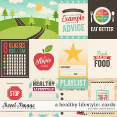 A Healthy Lifestyle: Cards by Kristin Cronin-Barrow Life Journal, Journal Cards, Bullet Journal, Project Life, Healthy Lifestyle Habits, Pocket Cards, Album, Printable Planner, Digital Scrapbooking