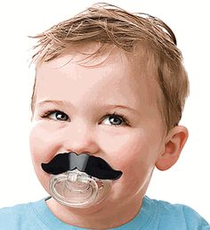 Moustache Pacifier = best gift ever.