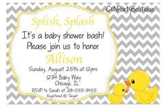 Digital Rubber Ducky Baby Shower Invitation by CandNPartyBoutique