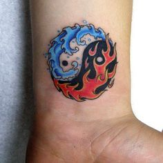 Cool, unique and small Yin Yang Tattoos with meaning and names for couples, best friends or sisters. The Best Yin Yang tattoos with suns, moons and dragons. Yin Yang Tattoos, Wrist Tattoos For Guys, Small Wrist Tattoos, Tattoo Small, Fire Tattoo, Tattoo Set, Ring Tattoos, Wolf Tattoos, Trendy Tattoos