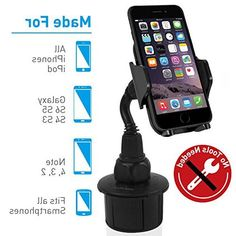 Macally Adjustable Automobile Cup Holder Phone Mount for iPhone X 8 7 7 Plus Plus SE Samsung Galaxy Edge Note iPod, Smartphones, GPS etc Cup Holder Phone Mount, Security Surveillance, Note 5, S7 Edge, Samsung Galaxy S9, 6s Plus, Ipod, Automobile, Smartphone