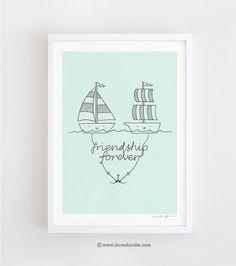 Friendship Forever - signed art print ilovedoodle Etsy shop