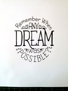 Remember When Any Dream was Possible? Handwritten typography 5.20.14 photo#StillTotallyPossible!#ClientWorkActivity