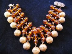 Vintage Brass Ball and Amber Glass Bracelet from the Vintage jewelry Lounge on Ruby Lane