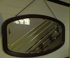 The mirror is made from good quality, bevelled glass and the hanging chain is strong and intact. Beveled Glass, Wall Mirror, 1930s, Vintage Items, Frame, Ebay, Picture Frame, Wall Mirrors, A Frame