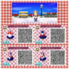 Animal Crossing New leaf. AC NL. QR CODE. ANIMAL CROSSING JUMP OUT. Don't play animal crossing, but just in case I ever do... Sailor Moon outfit! :D
