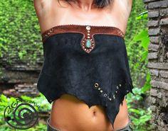 Black Jungle Tribal Pixie Pirate Gipsy Leathr Top por SigaTribal