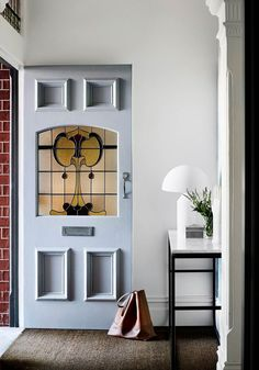 Is your front door in need of a quick facelift? A bold paint colour will give your home exterior a quick and inexpensive refresh. Read on for some fabulous front door colour ideas and inspiration. Yellow Front Doors, Front Door Colors, Blue Doors, Halls Pequenos, Brown Family Rooms, Design Entrée, Design Ideas, Door Design, Modern Design