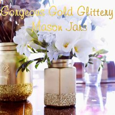 Create Gorgeous Gold Glittery Mason Jars with spray paint and glitter. Easy Diy Crafts, Diy Crafts To Sell, Fun Crafts, Gold Glitter Mason Jar, Vases, Eid Party, Love Craft, Do It Yourself Home, Diy Wedding