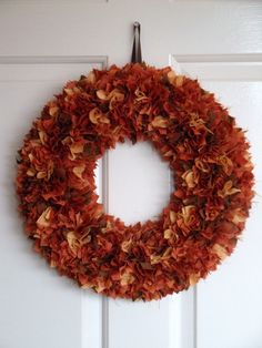 BEAUTIFUL Autumn Fall Thanksgiving Fabric Wreath Door/Wall Decoration. Etsy.