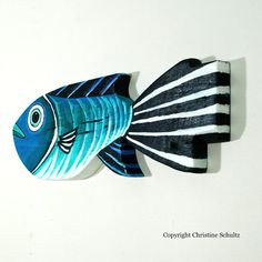 Painted Wood Fish Decor Green and Blue Folk Art