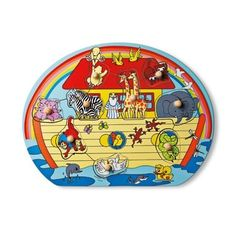 Wooden puzzle for small hands with Noah and the animals, approx 30cmX22cm for £3