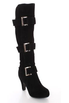 Black Faux Suede Buckle Strapped AMIclubwear