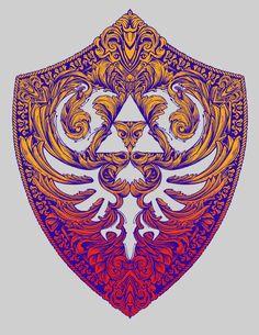 Die Legende von Zelda Link T-shirt Zelda Hyrule Shield Hylian Victoriana (Farbe)