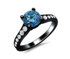 BLUE #DIAMOND #WEDDING & #ENGAGEMENT RING BLACK-GOLD 14K