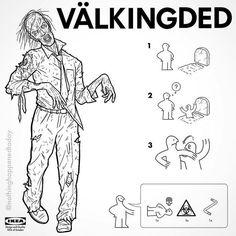 IKEA Instructions for Horror Fans - Walking Dead by Ed Harrington Horror Movie Characters, Horror Films, Freddy Krueger, Zombies, Jason Voorhees, Ikea, Funny Horror, Arte Disney, Famous Movies