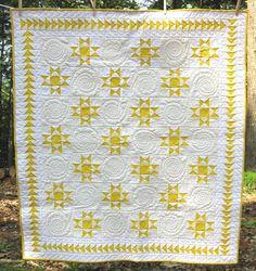 yellow & white star quilt