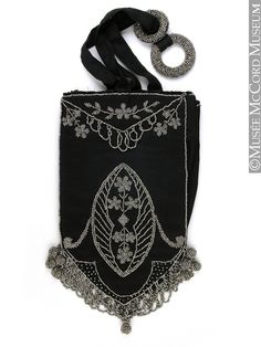 Imported From Abroad Antique Art Deco Crochet Jet Black Fringe Mirror Reticule Fringe Bead Purse Clothing, Shoes & Accessories