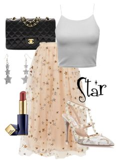 """""""Star"""" by rozlynjanine ❤ liked on Polyvore featuring Chanel, Valentino and Estée Lauder"""