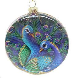 December Diamonds Peacock Round Ornament