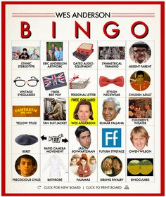 Wes Anderson bingo. Turn it into a drinking game!