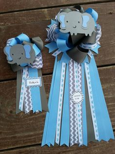 Set of two baby shower mom to be and dad to be Elephant Baby Shower ribbon corsage by bonbow
