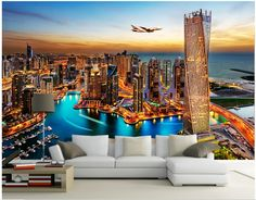 3d room wallpaer custom photo non-woven mural Night at dubai TV background wall painting 3d wall murals wallpaper for walls 3d #Affiliate