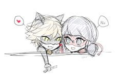 ChatNoir : I want to touch you Ladybug : Don't touch me