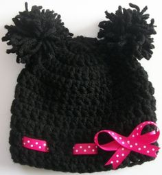 Hand Crocheted - Newborn Baby Girl - Minnie Mouse Hat Featuring Pink Polka-dot Bow. $14.00, via Etsy.