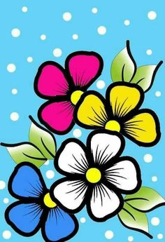 Flowers to paint Flower Pot Crafts, Flower Art, Stencil Painting, Fabric Painting, Floral Bedspread, Painted Rocks, Hand Painted, Rock Flowers, Flower Doodles