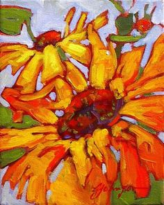 Gail Johnson Golden Afternoon Oil Painting Flowers, Abstract Flowers, Art Aquarelle, Watercolor Art, Colorful Paintings, Floral Paintings, Sunflower Art, Arte Floral, Acrylic Art