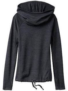 Blissful Hoodie - Our scrumptious Techie Sweat fabric in a cowl-neck hoodie with a drawstring waist for a custom fit.