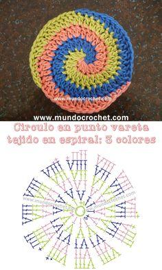Transcendent Crochet a Solid Granny Square Ideas. Inconceivable Crochet a Solid Granny Square Ideas. Spiral Crochet Pattern, Free Crochet Doily Patterns, Crochet Earrings Pattern, Crochet Circles, Crochet Motifs, Crochet Diagram, Crochet Round, Crochet Chart, Crochet Squares