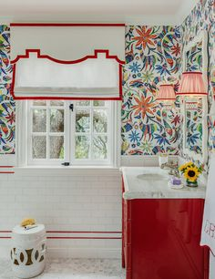 What Looks Like Wallpaper in This Bathroom Is Actually Tile Custom Furniture, Antique Furniture, New Ravenna, Samuel And Sons, Jack And Jill Bathroom, Shared Bathroom, Tile Patterns, Home Lighting, Glass Shower Doors