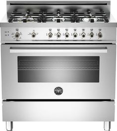 """Bertazzoni PRO366GASX Professional Series  36"""" Pro-Style Gas Range with 6 Sealed Brass Burners, 4.4 cu. ft. Convection Oven, Manual Clean, Storage Compartment and Telescopic Glide Shelf - See more at: http://www.plessers.com/Bertazzoni/pro366gasx.htm #stainless #bertazzoni #cooking #kitchen #range"""