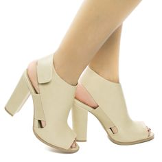 Look cute with these super adorable retro peep toe sandal featuring chunky block high heel, elastic vamp, Velcro sling back closure and solid upper. The heel measures 5.5 inches tall. (Please note tha