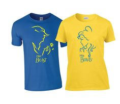 Disney Beauty and the Beast matching Couples Shirts His and Hers matching couples Personalized His Beauty Her Beast Tees! Perfect for any